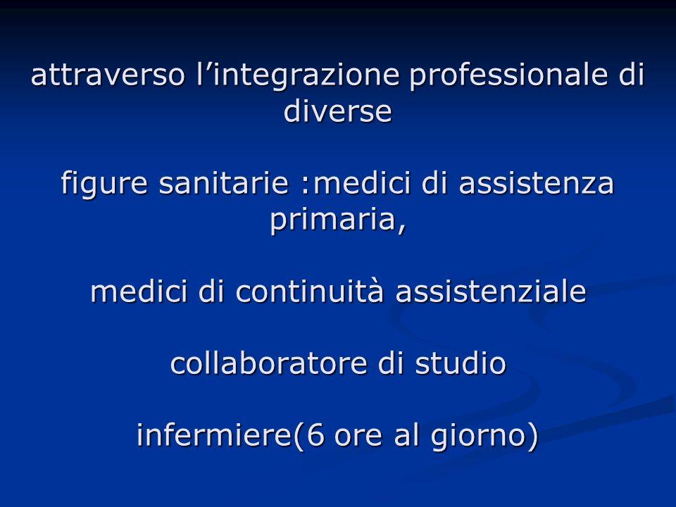 attraverso l'integrazione professionale di diverse figure sanitarie :medici di assistenza primaria, medici di continuità assistenziale collaboratore di studio infermiere(6 ore al giorno)