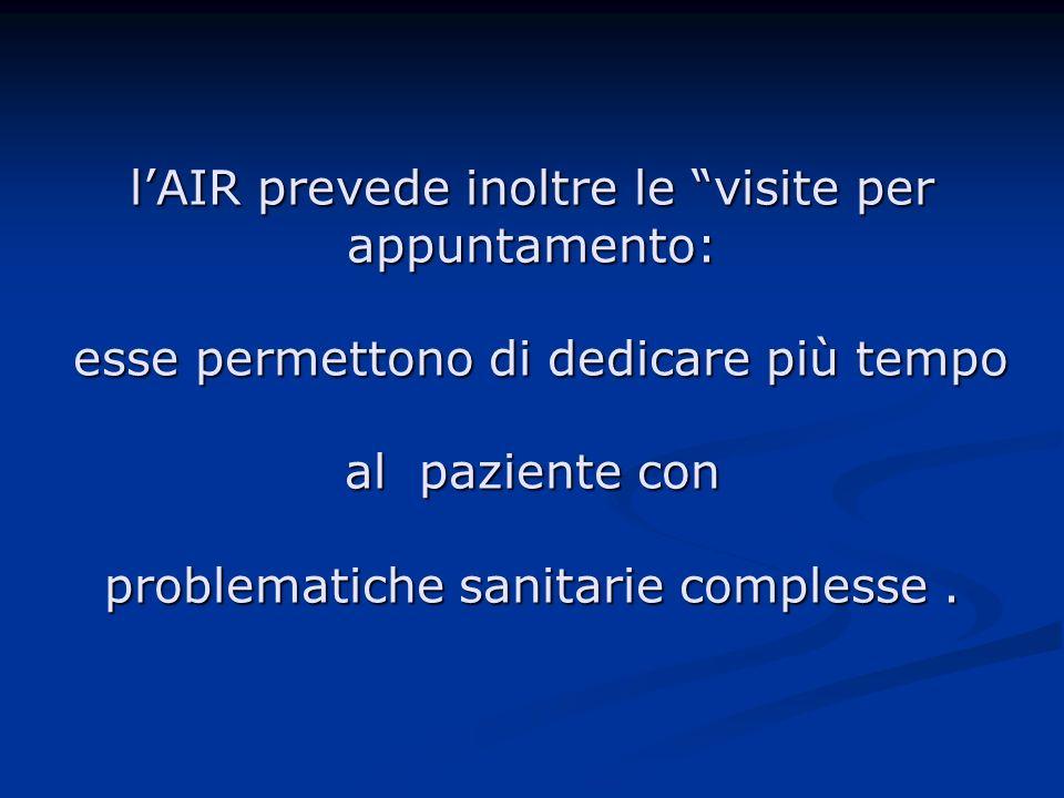l'AIR prevede inoltre le visite per appuntamento: esse permettono di dedicare più tempo al paziente con problematiche sanitarie complesse .