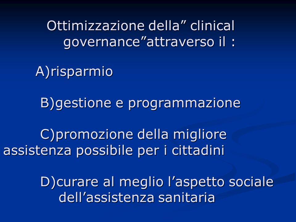 Ottimizzazione della clinical governance attraverso il : A)risparmio B)gestione e programmazione C)promozione della migliore assistenza possibile per i cittadini D)curare al meglio l'aspetto sociale dell'assistenza sanitaria