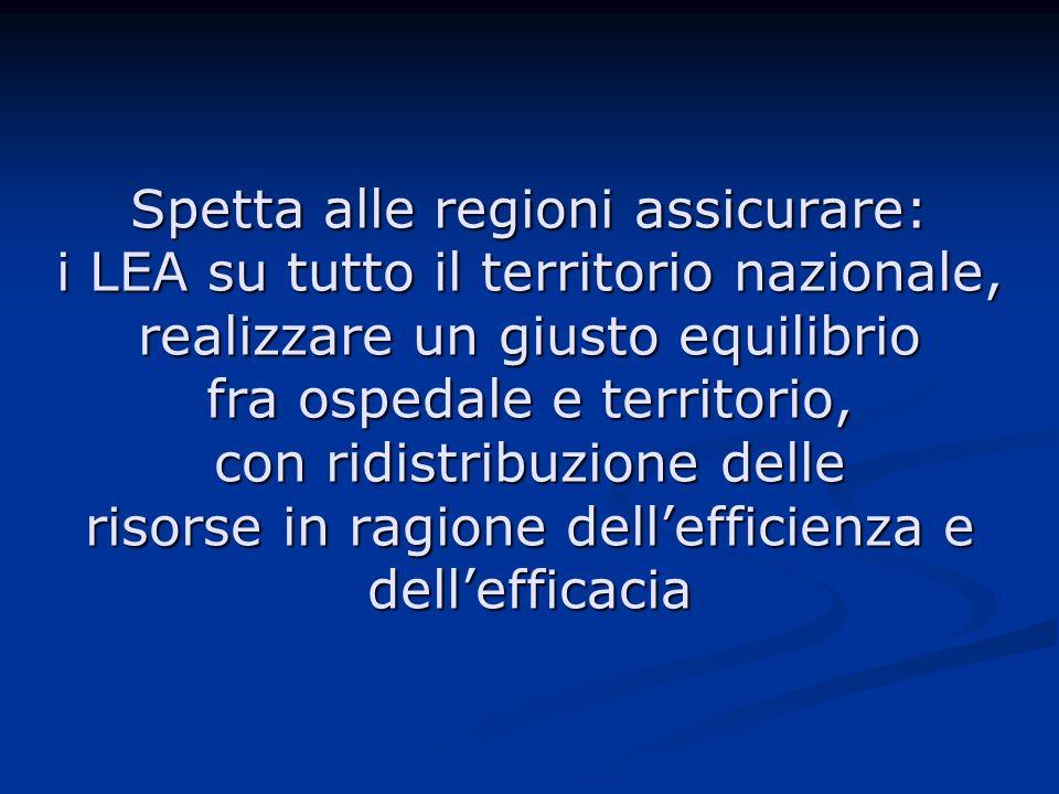 Spetta alle regioni assicurare: i LEA su tutto il territorio nazionale, realizzare un giusto equilibrio fra ospedale e territorio, con ridistribuzione delle risorse in ragione dell'efficienza e dell'efficacia