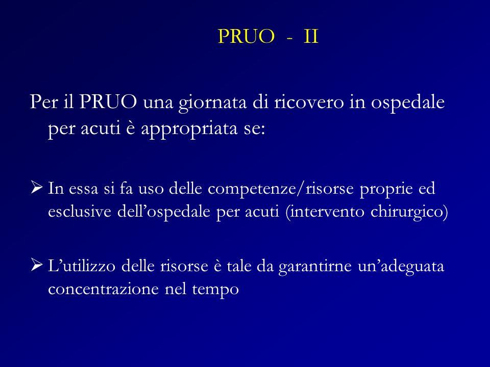 PRUO - II Per il PRUO una giornata di ricovero in ospedale per acuti è appropriata se: