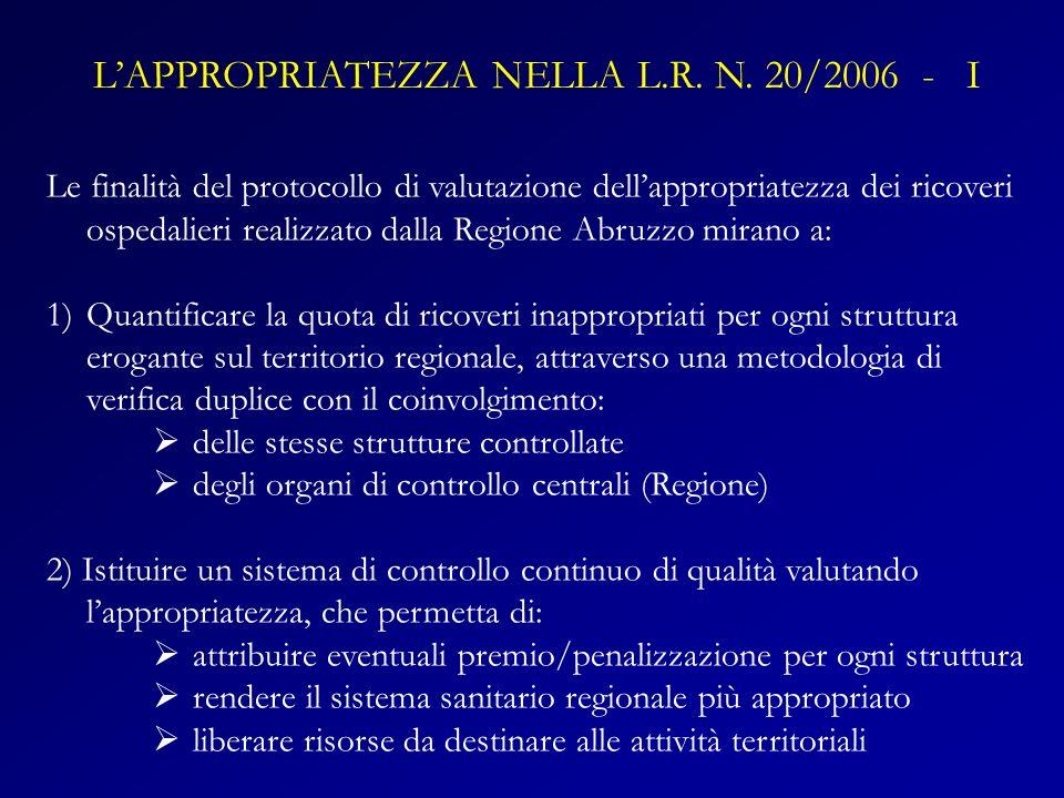 L'APPROPRIATEZZA NELLA L.R. N. 20/2006 - I