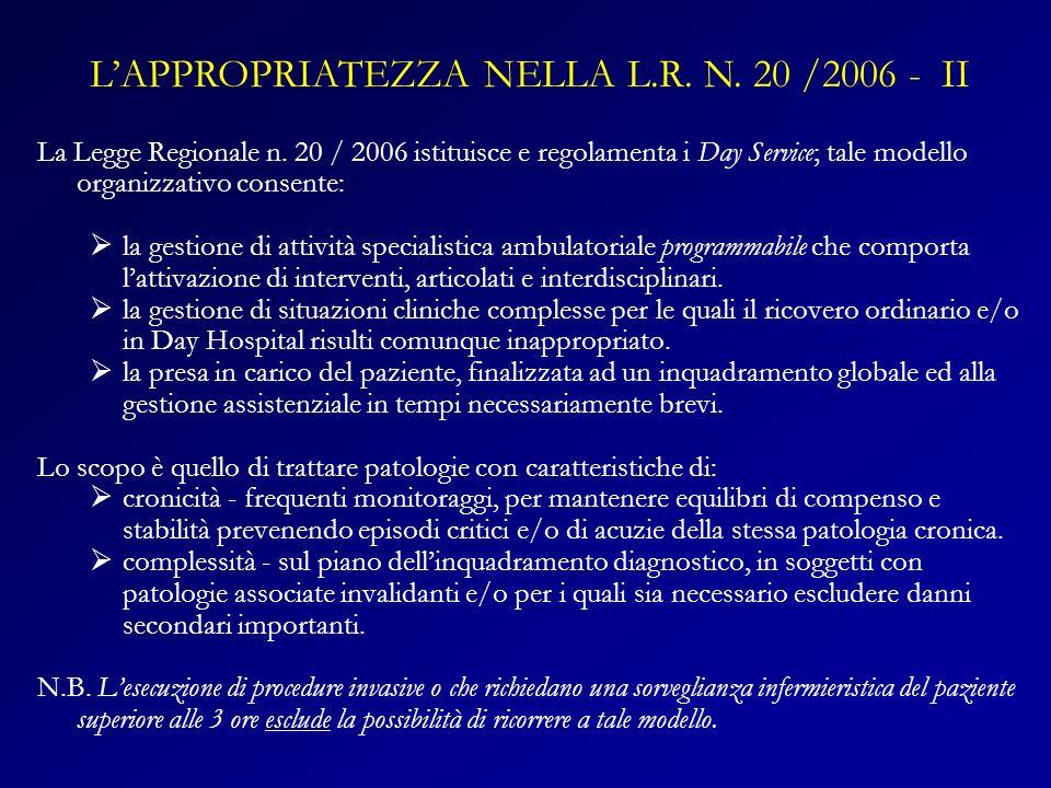L'APPROPRIATEZZA NELLA L.R. N. 20 /2006 - II