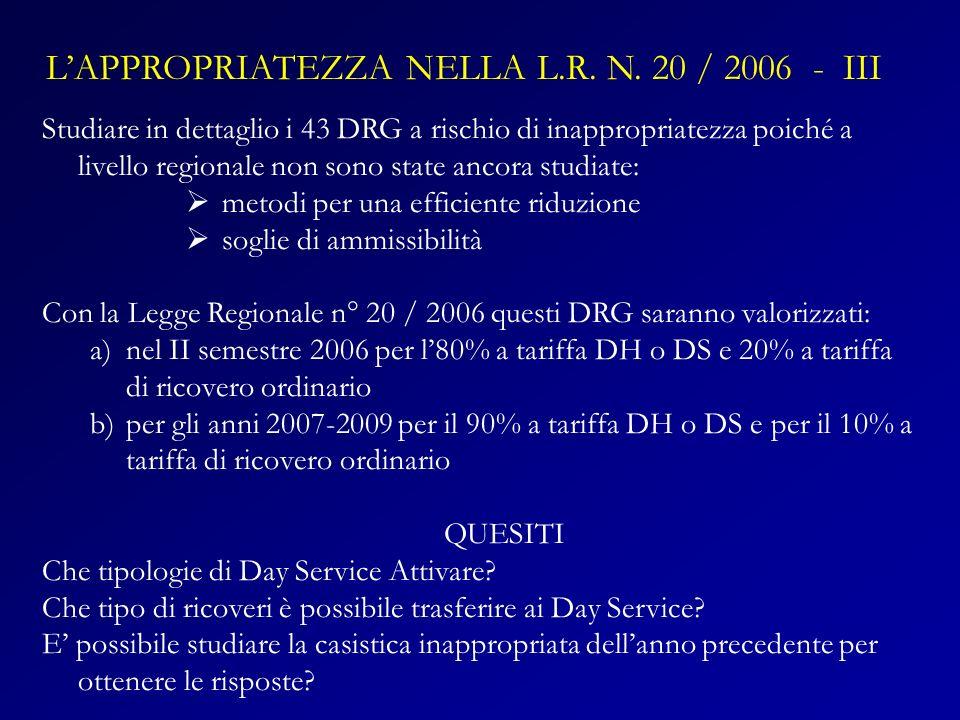 L'APPROPRIATEZZA NELLA L.R. N. 20 / 2006 - III