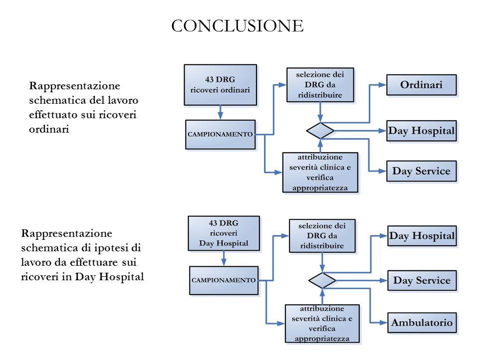 CONCLUSIONE Rappresentazione schematica del lavoro effettuato sui ricoveri ordinari.