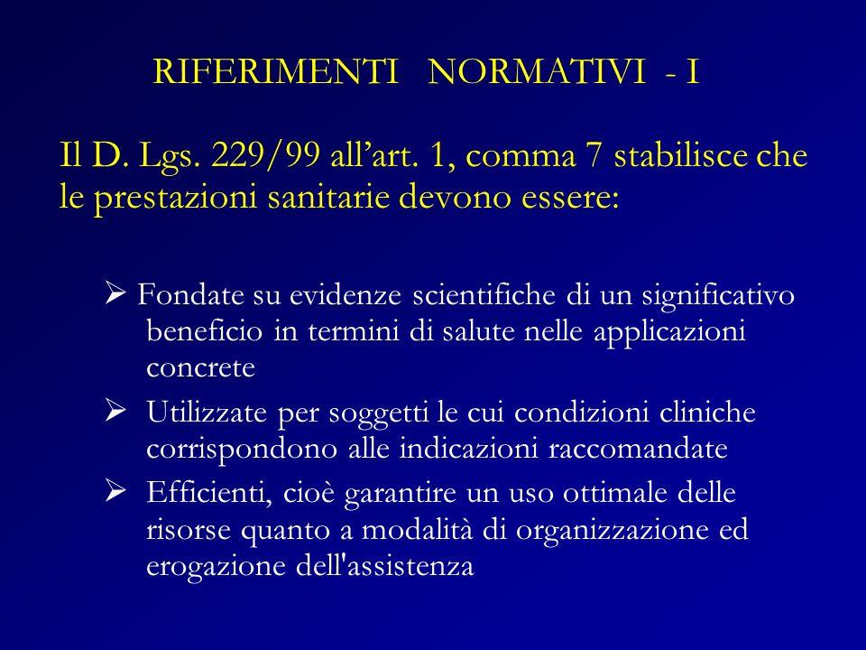 RIFERIMENTI NORMATIVI - I