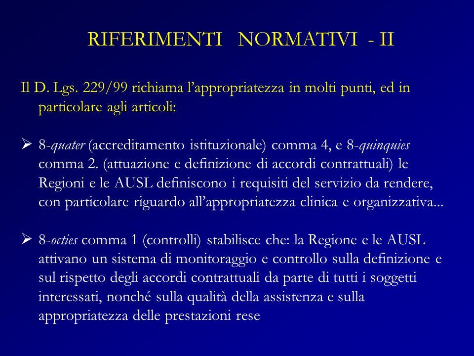 RIFERIMENTI NORMATIVI - II