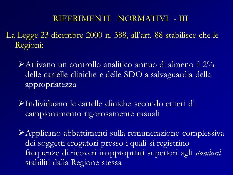 RIFERIMENTI NORMATIVI - III