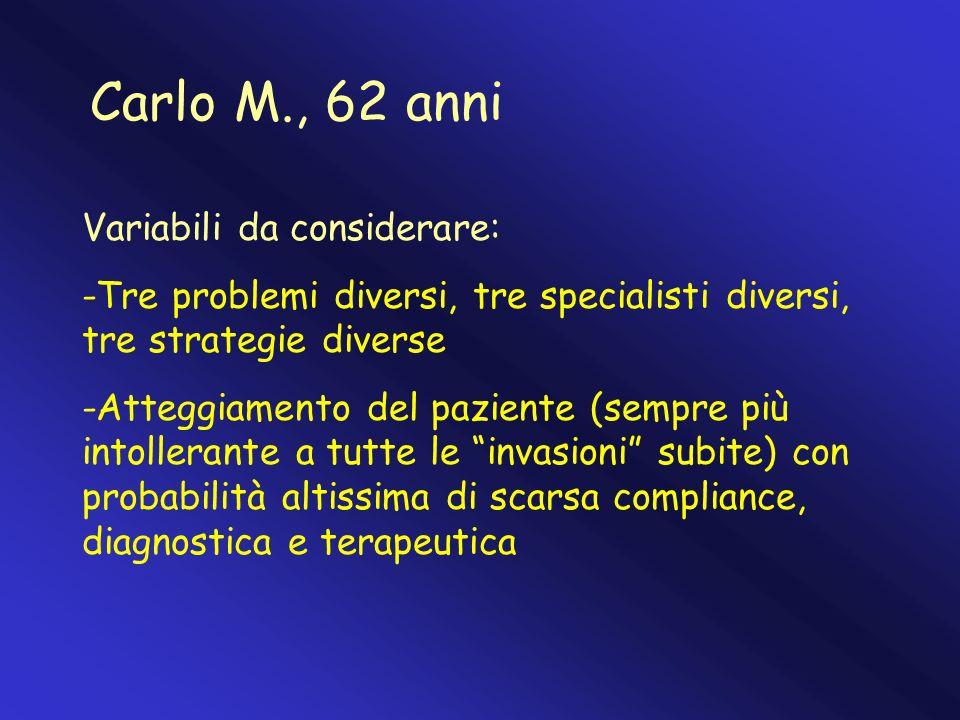 Carlo M., 62 anni Variabili da considerare: