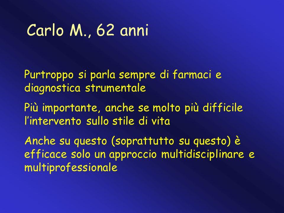 Carlo M., 62 anni Purtroppo si parla sempre di farmaci e diagnostica strumentale.