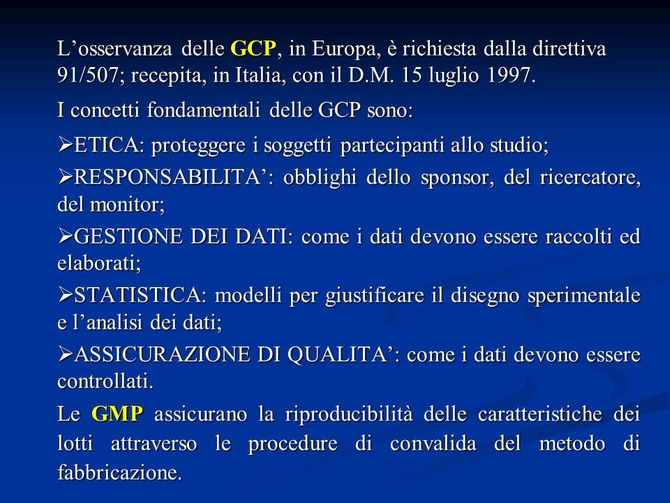 L'osservanza delle GCP, in Europa, è richiesta dalla direttiva 91/507; recepita, in Italia, con il D.M. 15 luglio 1997.
