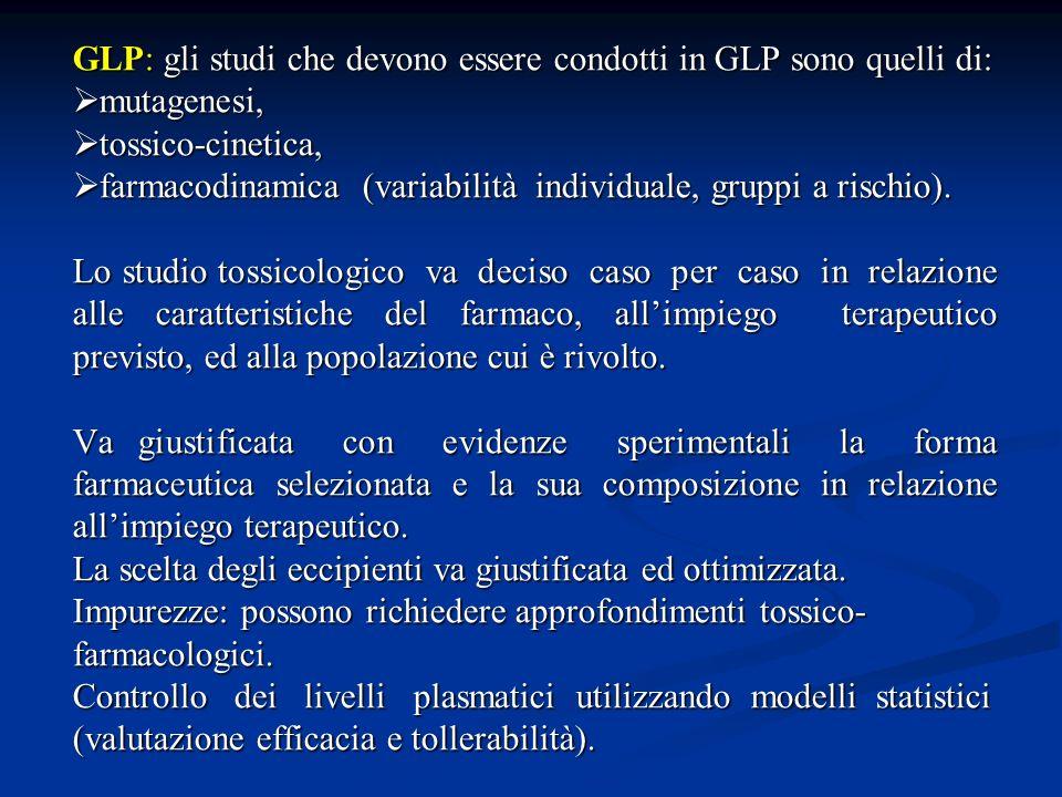 GLP: gli studi che devono essere condotti in GLP sono quelli di: