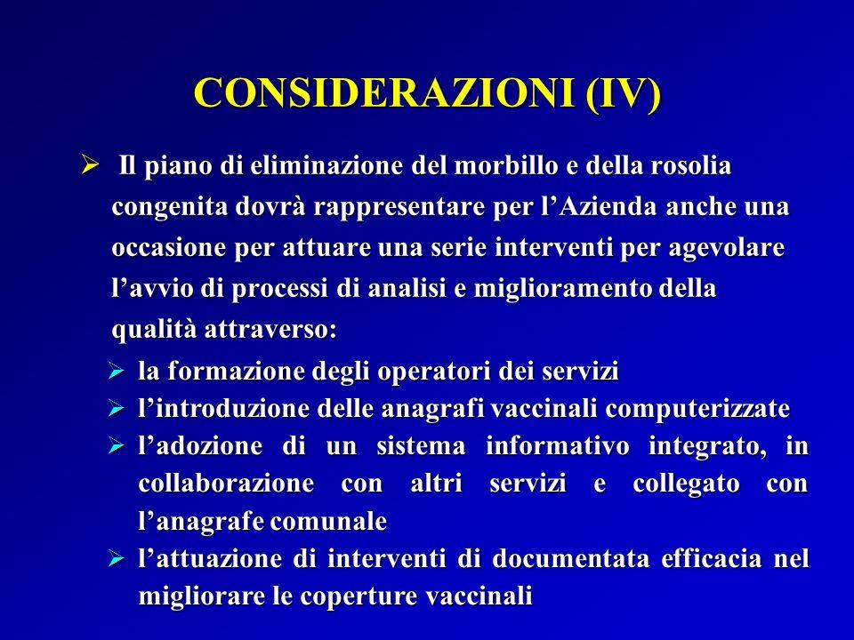 CONSIDERAZIONI (IV)