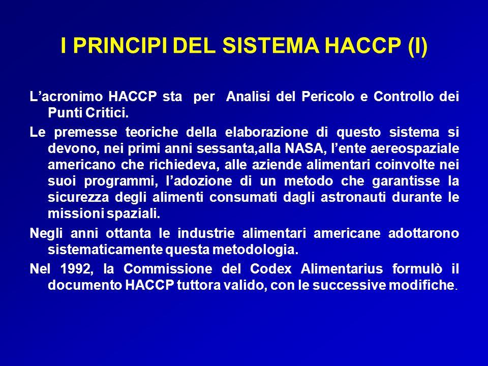 I PRINCIPI DEL SISTEMA HACCP (I)