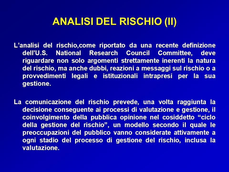 ANALISI DEL RISCHIO (II)