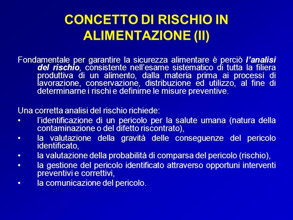 CONCETTO DI RISCHIO IN ALIMENTAZIONE (II)
