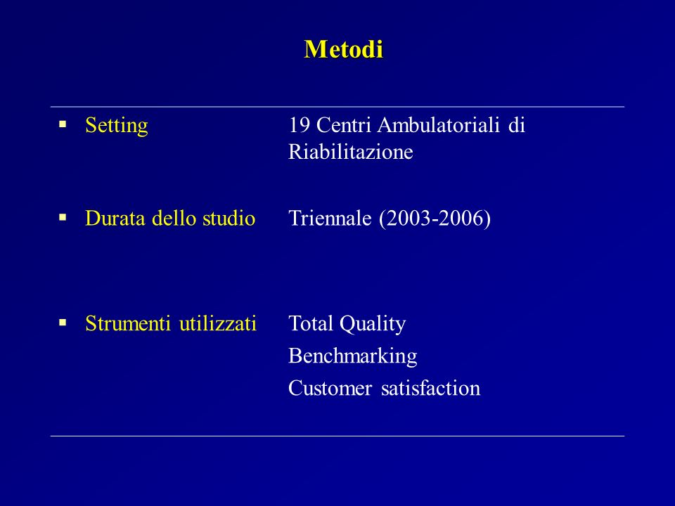 Metodi Setting 19 Centri Ambulatoriali di Riabilitazione