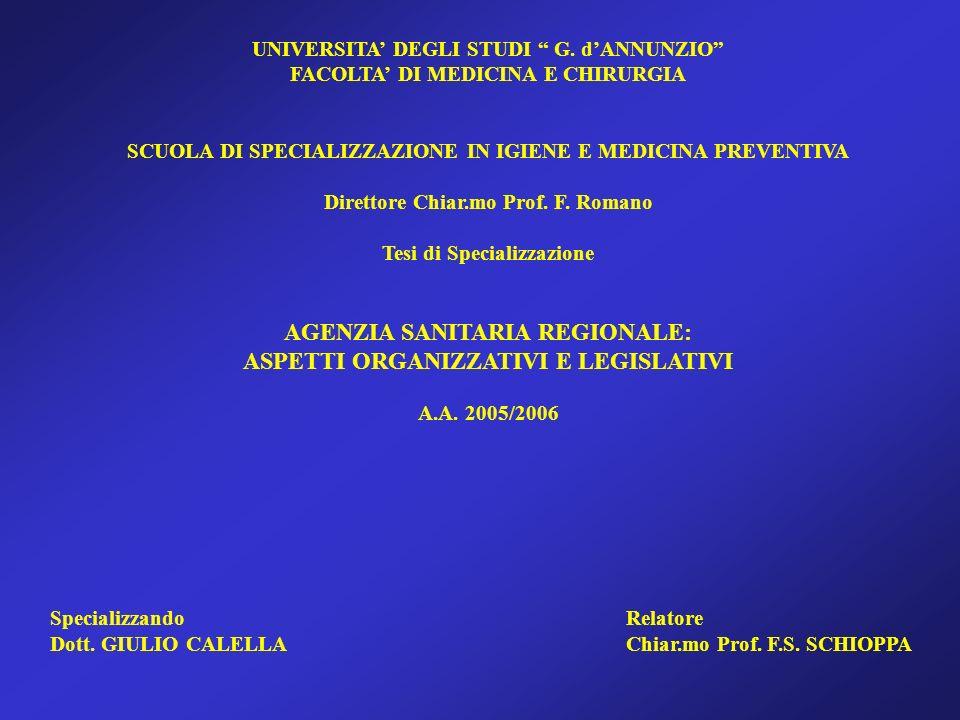 AGENZIA SANITARIA REGIONALE: ASPETTI ORGANIZZATIVI E LEGISLATIVI