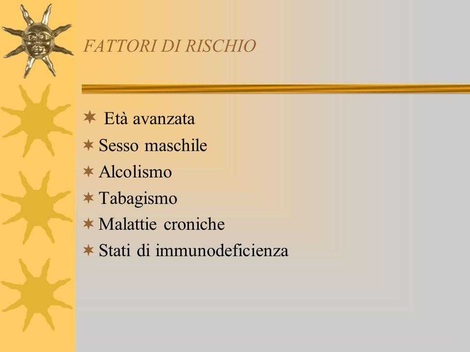 Età avanzata FATTORI DI RISCHIO Sesso maschile Alcolismo Tabagismo