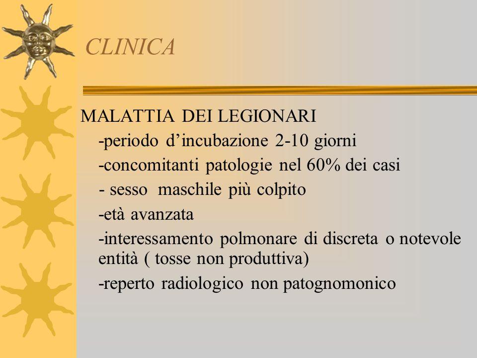 CLINICA MALATTIA DEI LEGIONARI -periodo d'incubazione 2-10 giorni
