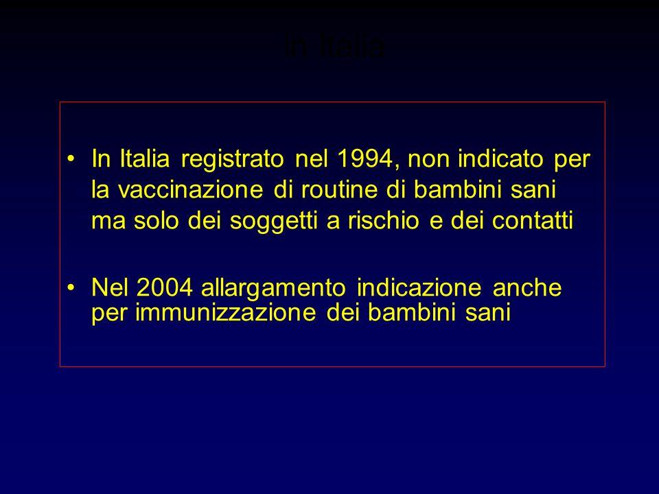 in ItaliaIn Italia registrato nel 1994, non indicato per la vaccinazione di routine di bambini sani ma solo dei soggetti a rischio e dei contatti.