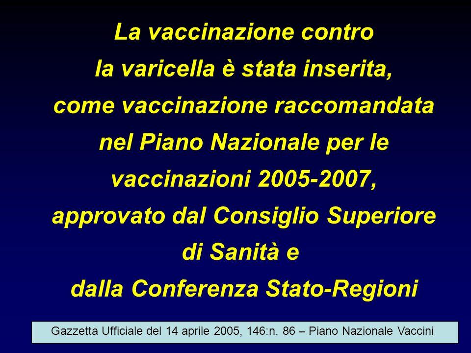 La vaccinazione contro la varicella è stata inserita,