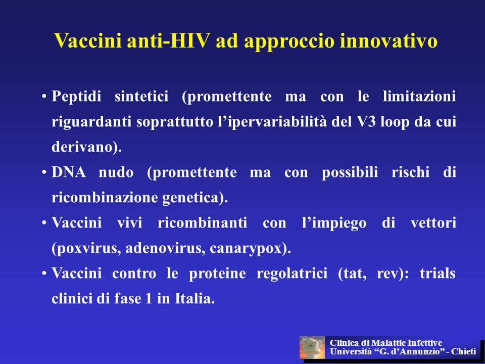 Vaccini anti-HIV ad approccio innovativo