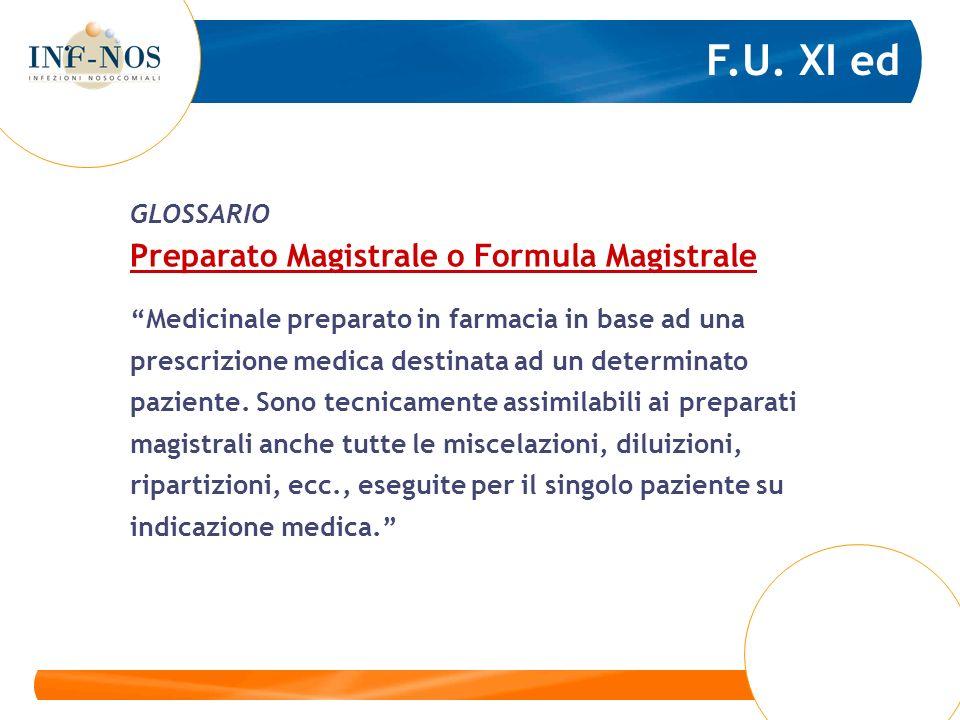 F.U. XI ed Preparato Magistrale o Formula Magistrale GLOSSARIO