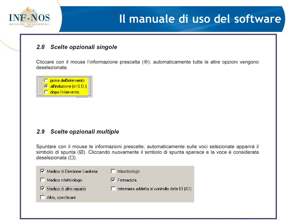 Il manuale di uso del software