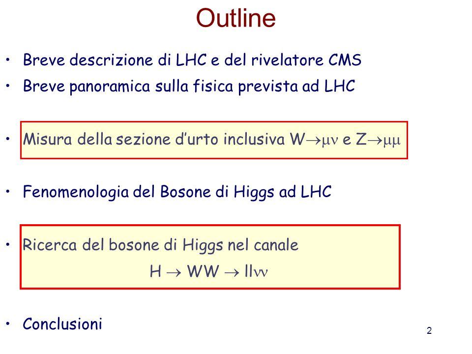 Outline Breve descrizione di LHC e del rivelatore CMS