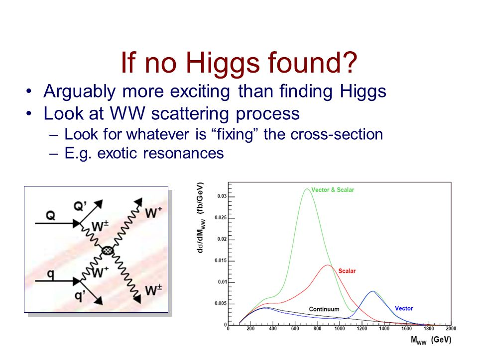 If no Higgs found Arguably more exciting than finding Higgs
