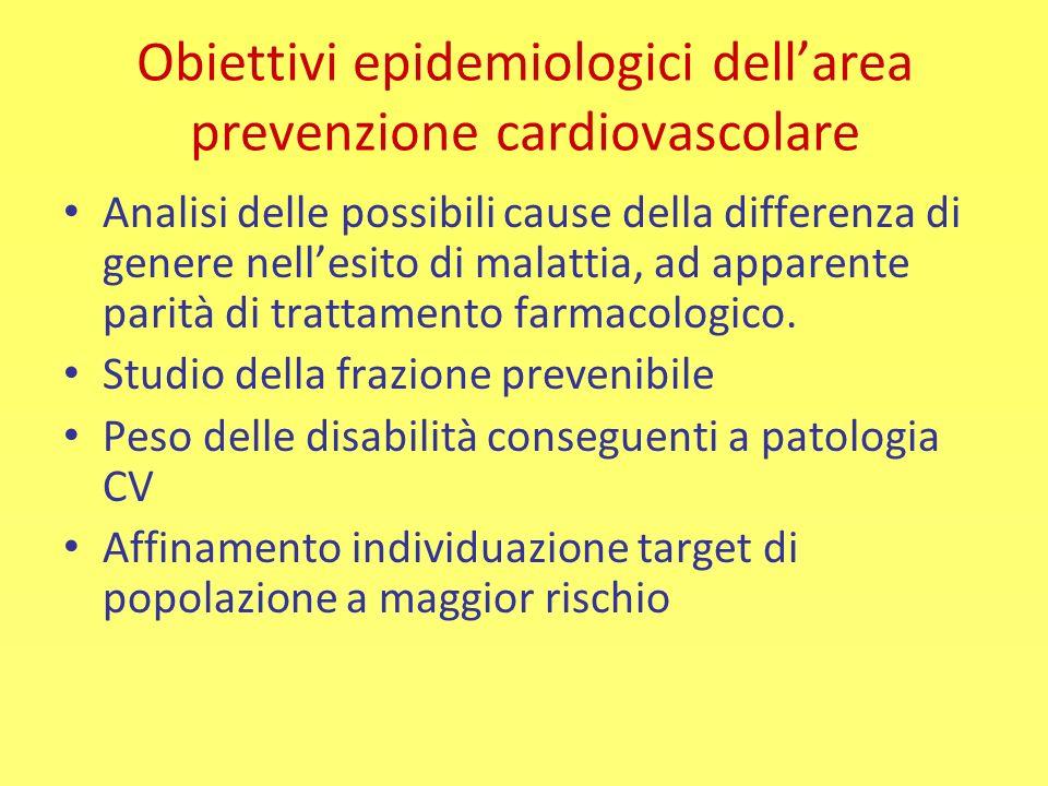 Obiettivi epidemiologici dell'area prevenzione cardiovascolare