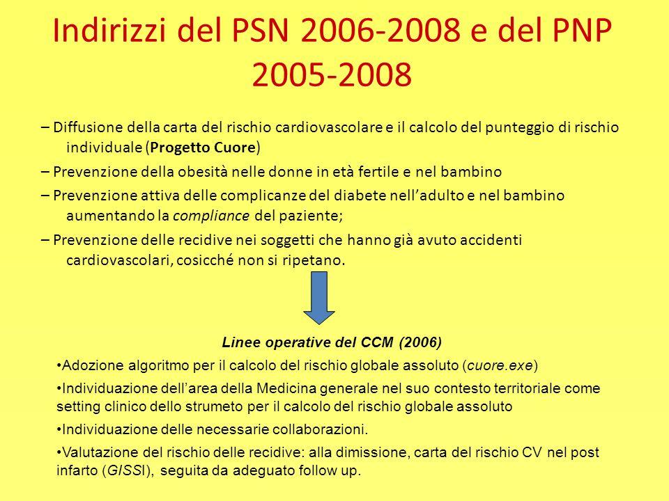 Indirizzi del PSN 2006-2008 e del PNP 2005-2008