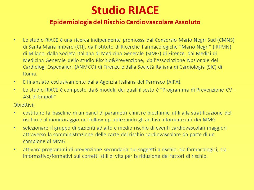 Studio RIACE Epidemiologia del Rischio Cardiovascolare Assoluto