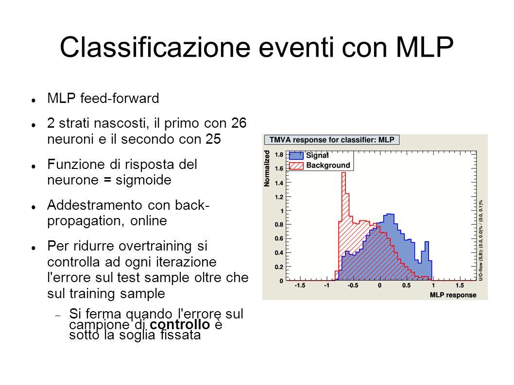 Classificazione eventi con MLP