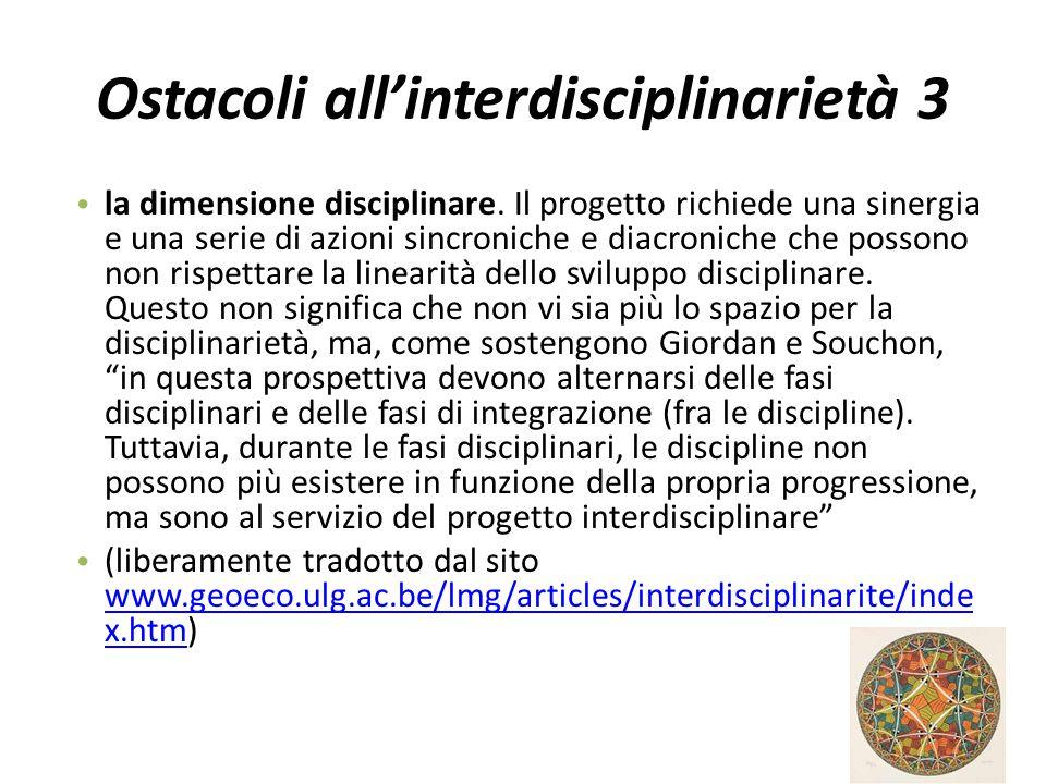 Ostacoli all'interdisciplinarietà 3
