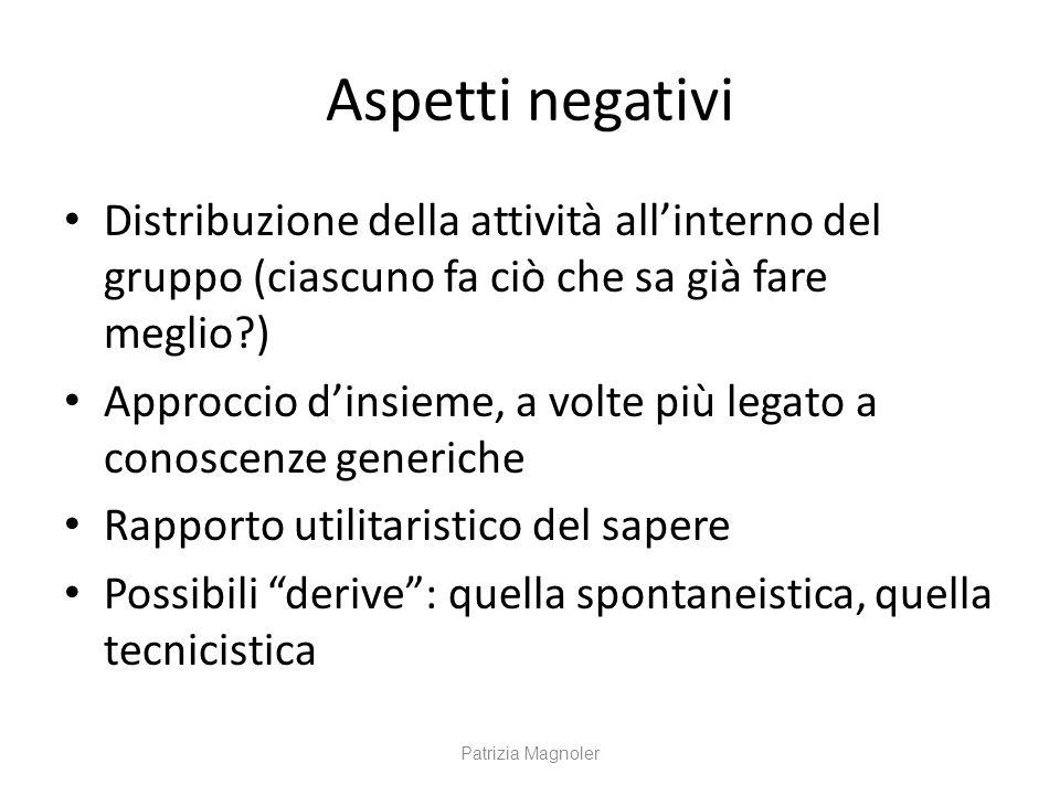 Aspetti negativi Distribuzione della attività all'interno del gruppo (ciascuno fa ciò che sa già fare meglio )
