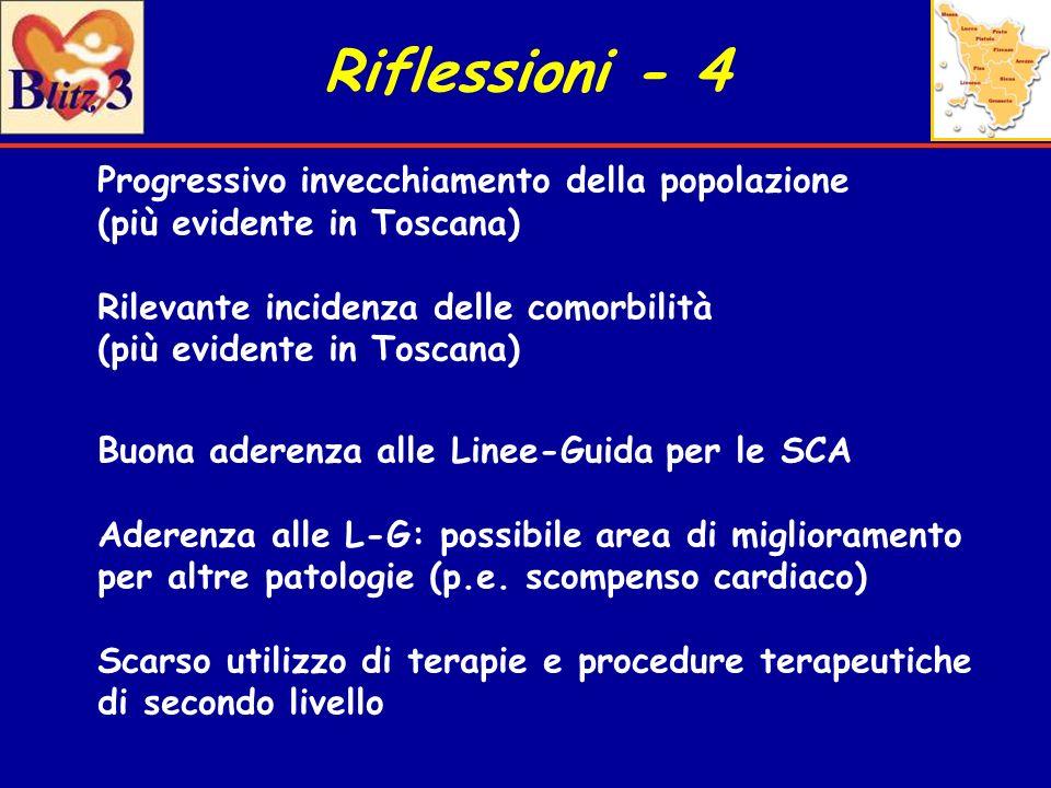 Riflessioni - 4 Progressivo invecchiamento della popolazione (più evidente in Toscana)