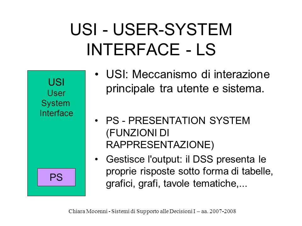 USI - USER-SYSTEM INTERFACE - LS