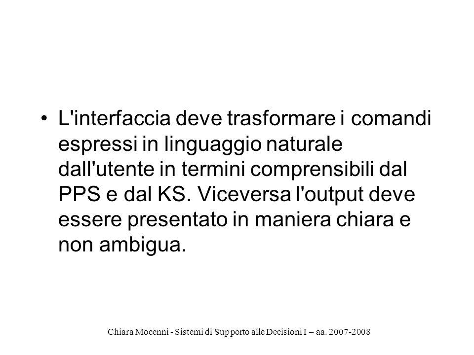 L interfaccia deve trasformare i comandi espressi in linguaggio naturale dall utente in termini comprensibili dal PPS e dal KS.