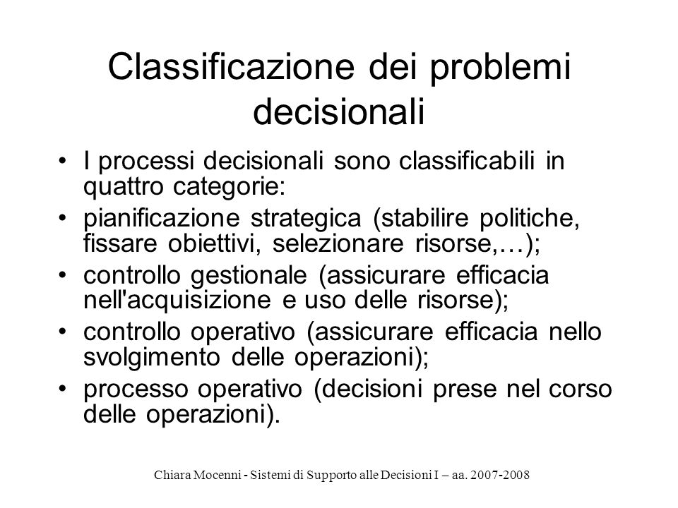 Classificazione dei problemi decisionali