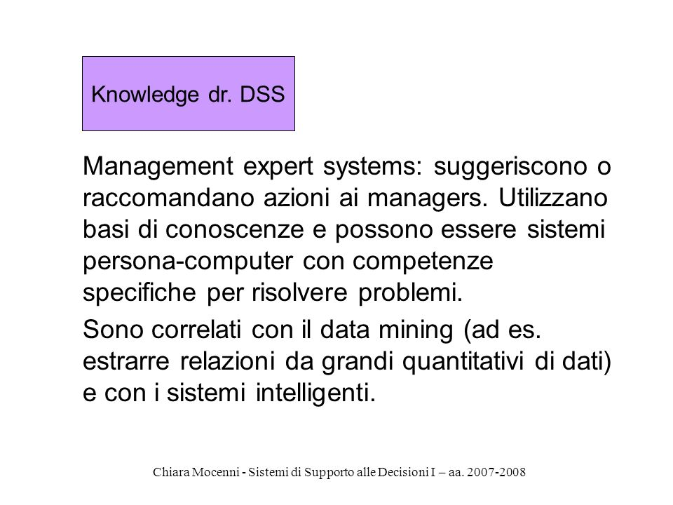 Knowledge dr. DSS
