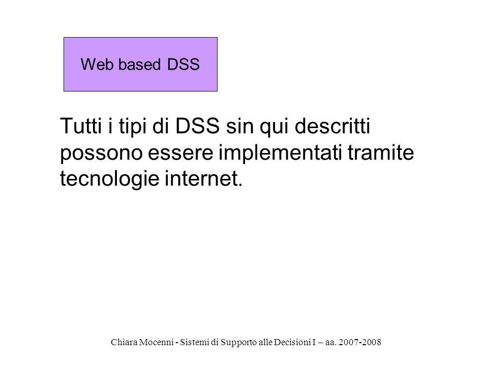 Web based DSS Tutti i tipi di DSS sin qui descritti possono essere implementati tramite tecnologie internet.