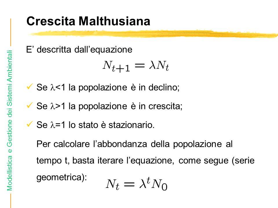 Crescita Malthusiana E' descritta dall'equazione