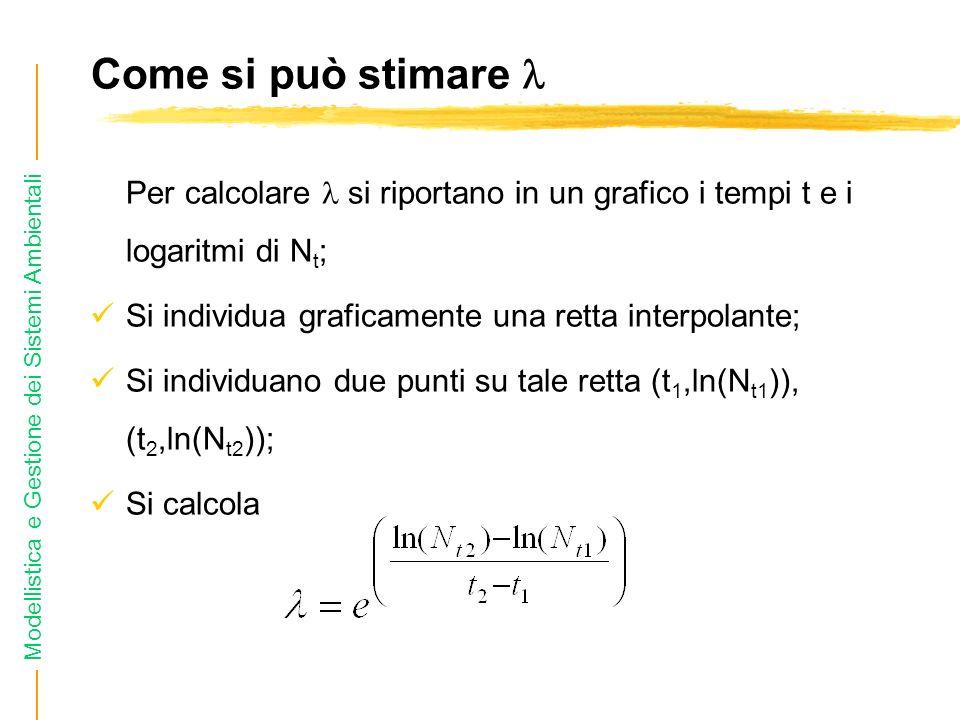 Come si può stimare  Per calcolare  si riportano in un grafico i tempi t e i logaritmi di Nt; Si individua graficamente una retta interpolante;