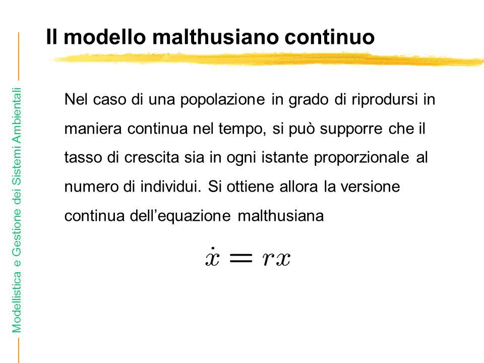 Il modello malthusiano continuo