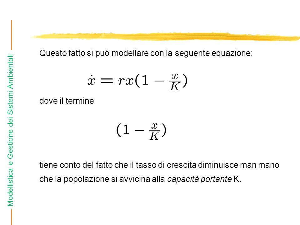 Questo fatto si può modellare con la seguente equazione: