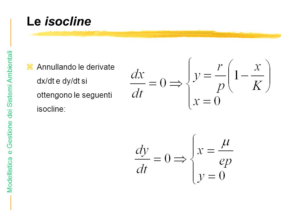 Le isocline Annullando le derivate dx/dt e dy/dt si ottengono le seguenti isocline: