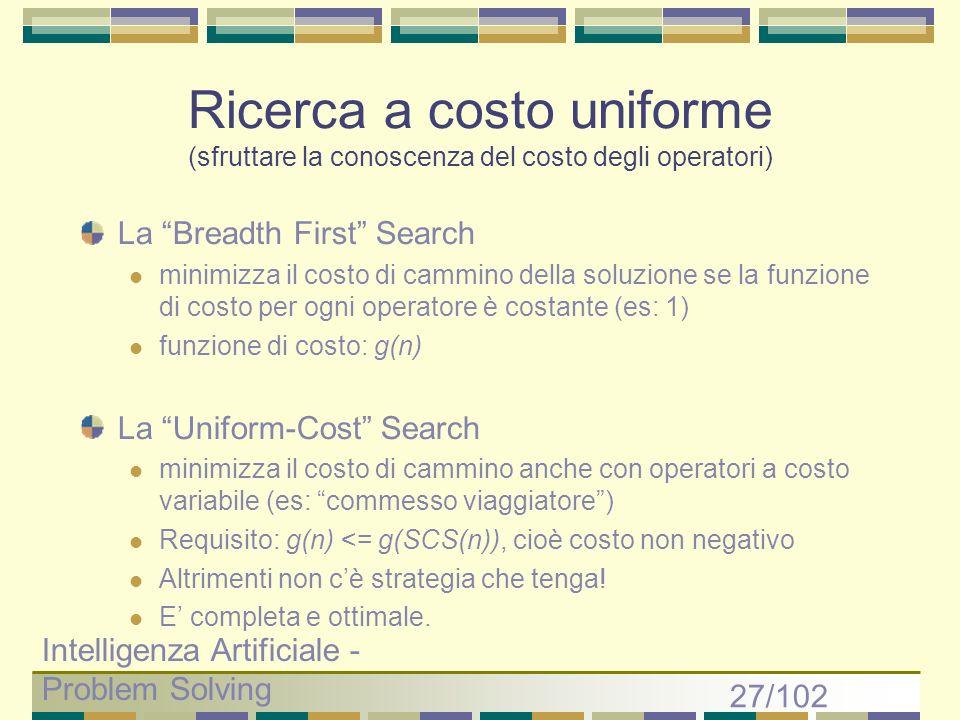 Ricerca a costo uniforme (sfruttare la conoscenza del costo degli operatori)