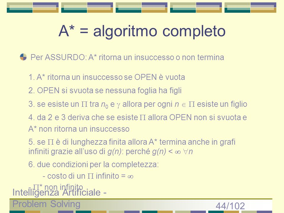 A* = algoritmo completo
